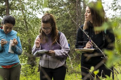 Students studying in the field