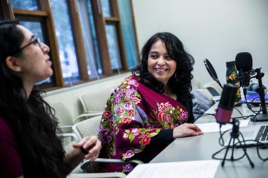 Jessica Hernandez interviews a UW student for her podcast, Indigenizing Urban Seattle.